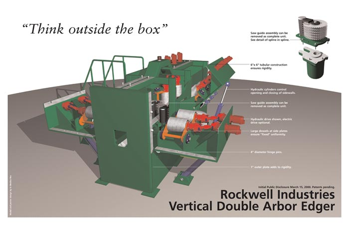 Vertical Double Arbor Edger with opening side walls